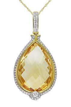 Two-Tone Diamond Trimmed Citrine Pendant Necklace by Red Carpet Ready: Fine Jewels on @HauteLook