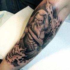 Fiery Greek God Tattoo On Arms For Men