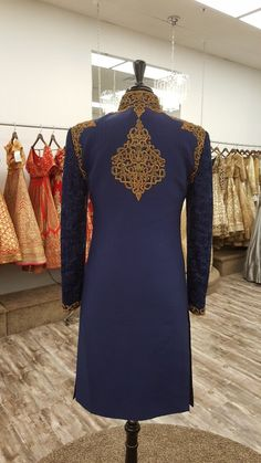 Navy blue pure dupion silk sherwani With chikankari sleeves Gold antique embroidery, and gold buttons Includes pajami, shoes and simple stole Banarsi stole not included Sherwani For Men Wedding, Wedding Dresses Men Indian, Wedding Outfits For Groom, Sherwani Groom, Wedding Dress Men, Wedding Suits, Punjabi Wedding, Indian Weddings, Wedding Couples