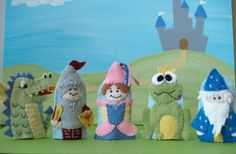 Will test out finger puppets on the plane. Fairy Tale Finger Puppet Set by raindropstops on Etsy Felt Puppets, Felt Finger Puppets, Hand Puppets, Felt Patterns, Stuffed Toys Patterns, Felt Diy, Felt Crafts, Finger Puppet Patterns, Imaginative Play