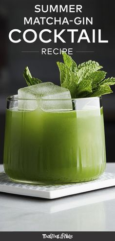 Muddled mint, lime and agave gets shaken up with gin and matcha powder for a refreshing and spirited beverage. It's our new go-to brunch cocktail.