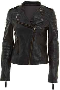 Womens Black Classic Cross Zip Leather Biker Jacket | Faith Leather