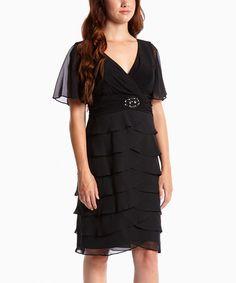 Look at this #zulilyfind! Black Tiered Surplice Dress by Jessica Howard #zulilyfinds
