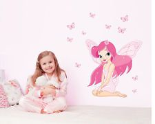 Rose fille & papillon Sticker mural autocollant deco Nursery Chambre Enfant…