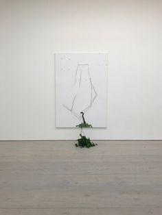 RICHARD ALDRICH, 'Past, Present and Future (#1), oil, wax, matte medium, charcoal, on cut linen with plant, 213.4 x 147.3 cm, 2009.