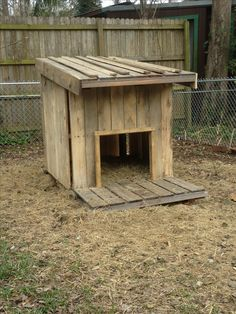 Hubby and I made this goat house from pallets :) my two nigerian does love it!