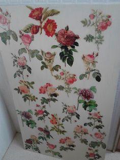 decoupage flower boad 余ったベニヤ板。
