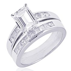 Emerald Cut Diamond Engagement Wedding Ring - Coin Mart Jewelry has the finest selection of Diamond Rings, Wedding Rings, Engagement Rings and Beautiful Rings. www.coinmart.com