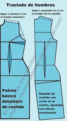 Hacer traslado de hombros del delantero a la espalda Mccalls Patterns, Sewing Patterns, Clothing Patterns, Dress Patterns, Diy Dress, Dress Making, How To Make, Fashion Design, Cardio