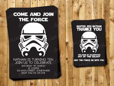 Storm Trooper Birthday Invitations and Thank You Cards - Star Wars - Darth Vader