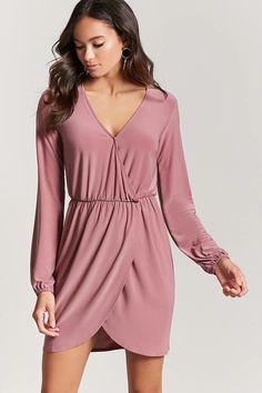 Product Name:Surplice Mock Wrap Dress, Category:dress, Price:14.9