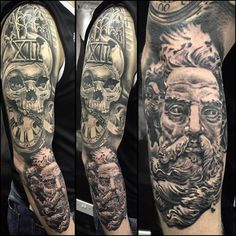"ARRON RAW op Instagram: ""Sleeve progress on 'the Viking' @glen12taylor (XII not by me. Re-worked) sponsored by @tattoolandsuppliesukltd @medievalironstattoo @elgatonegrotatt @clean.ink"""