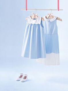 Kleid baby Jacadi Paris, Shades Of Blue, Pink Blue, Hair Clips, Girl Fashion, Velvet, Summer Dresses, Ss16, Girl Style