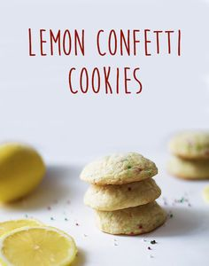 Lemon confetti cookies are buttery and soft, perfect for Christmas! Confetti Cookies, Lemon Butter, Holiday Baking, Christmas Cookies, Bread, Desserts, Food, Sweet Recipes, Xmas Cookies