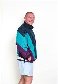 ADIDAS MENS 3XL JACKET BLUE NYLON VINTAGE 90'S TRACK TOP