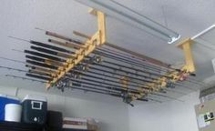 Fishing Rods - Holders and Storage Ceiling mount fishing pole storage Ceiling moun Fishing Pole Storage, Fishing Pole Holder, Kayak Storage Rack, Pole Holders, Fishing Pliers, Fly Fishing Rods, Fishing Tips, Fishing Knots, Fishing Games