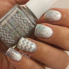 Silver and white gradient and chevron