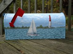 Mailbox of Boat and Lighthouse hand painted great by PatMcWhorter