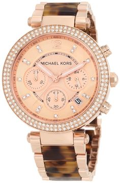 super #stunning Michael Kors Women's MK5538 Parker Tortoise & Rose Gold-Tone Watch #beautiful #MichaelKors