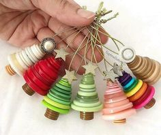Your place to buy and sell all things handmade - Christmas Crafts - Weihnachten Christmas Crafts For Kids, Xmas Crafts, Diy Christmas Ornaments, Christmas Projects, Winter Christmas, Christmas Trees, Christmas Button Crafts, Homemade Ornaments, Button Ornaments Diy