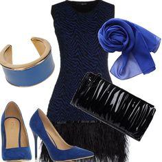 L'abito di Liu-Jo ricorda un po' gli anni 20, la Belle époque. L'abito in jersey e piume è indossato con delle décolleté blu china. Dello stesso colore sono la sciarpa e il bracciale. A chiudere il tutto, e riprendere il colore delle piume, ho abbinato una pochette nera. Outfit da sera, per non passare inosservata.