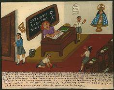 Mexican Exvoto retablo Teacher sleeps in School