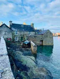 From a frosty Shetland DI Jimmy Perez's house from the crime series Shetland Northern Lights Scotland, Ben Nevis, Scottish Islands, Rock Pools, Weekend Trips, Beautiful Buildings, Great Britain, Scenery, Places To Visit
