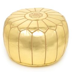 MPW Plaza Moroccan Pouf Gold, choice of Stuffed or Unstuffed, moroccan leather ottoman Pouf Ottoman, Ottoman Cover, Pouf Chair, Marrakech, Decor Interior Design, Interior Decorating, Decorating Ideas, Apartments Decorating, Sweet Home