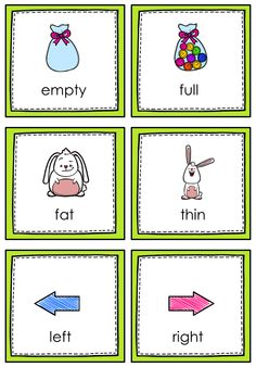 $ Opposites Memory Game for young learners