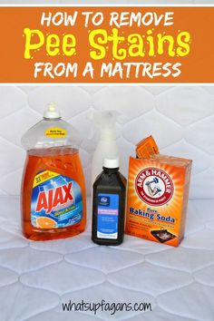 How to Remove Pee Stains from your kid's mattress (and remove the smell)! This is SO easy, natural, and cheap!