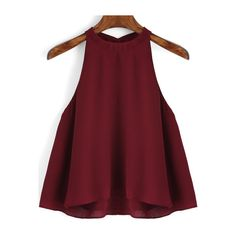SheIn(sheinside) Burgundy Loose Cami Top ($13) ❤ liked on Polyvore featuring tops, burgundy, red top, halter tank top, cami tank, camisole tops and red camisole