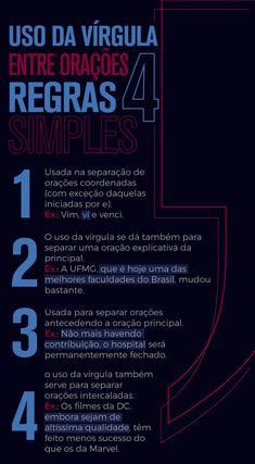 #Enem #Vestibular #Estudo #Português #Vírgula Portuguese Grammar, Portuguese Lessons, Portuguese Language, Writing Tips, Writing Prompts, Learn Brazilian Portuguese, Study Organization, Bullet Journal School, Study Planner