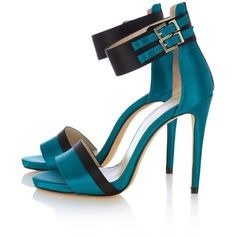 Karen Millen Colorblock Ankle Strap Sandals ($199) ❤ liked on Polyvore featuring shoes, sandals, heels, blue, scarpe, teal, blue sandals, high heel shoes, sexy sandals and ankle cuff shoes