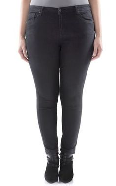 Ultra soft plus size skinny jeans featuring classic five pocket ...