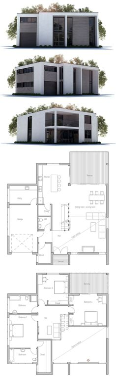 House Plan in mininamlist style. Floor Plan from ConceptHome.com