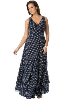It's back to glamour in our beautiful  printed plus size maxi dress with bust-flattering empire waistband and surplice front. #spring #fashion #plussize
