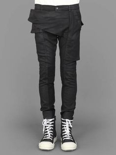 Rick Owens DRK SHDW Memphis cut stretch jeans with velcro front panel and four velcro pockets