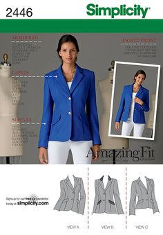 Simplicity2446 Misses' Jackets  Amazing Fit Collection. Misses'/Miss Petite lined jacket sewing pattern with individual pattern pieces for A, B, C cup sizes.