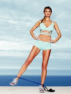 "Marisa Miller: Tighten Your Abs, Butt and Thighs! -  Supermodel Marisa Miller was kind enough to reveal her workout secrets in Cosmopolitan Magazine. And since ""Marisa has the kind of figure w. Fitness Diet, Fitness Motivation, Health Fitness, Thigh Exercises, Band Exercises, Band Workouts, Thigh Workouts, Workout Plans, Workout Ideas"