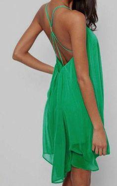 Green Spaghetti Strap Backless Chiffon Dress