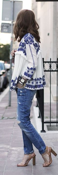 Zara white + blue embroidered jacket. boyfriend jeans. If only.