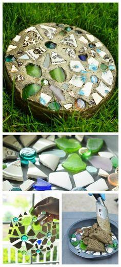 mosaic stepping stones from baking pan