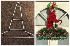 Mesh Ribbon Wreaths, Christmas Mesh Wreaths, Christmas Lanterns, Christmas Swags, Burlap Christmas, Christmas Tree Decorations, Hanger Crafts, Wreath Crafts, Diy Wreath