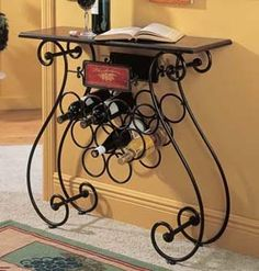 iron wine rack buffet table | Wrought Iron Wine Label Design 9 Bottle Wine Stand with Table