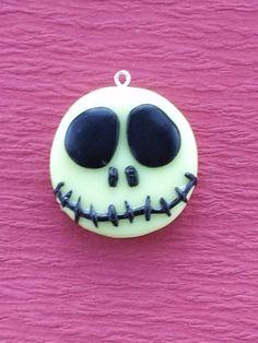 Halloween Polymer Clay Jack Skellington Charm: Glow in the Dark. $6.00, via Etsy.