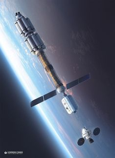 """LEO Rendezvous by MacRebisz, an Orion spacecraft approaching Interplanetary Transfer Vehicle """"Thor"""""""