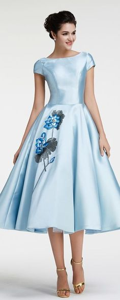 Vintage prom dresses tea length modest prom dress with sleeves ball gown pageant dresses ice blue homecoming dresses with embroidery cocktail dresses