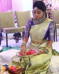 Ideas For Indian Bridal Saree Color Combinations Bridal Sarees South Indian, Wedding Silk Saree, Indian Bridal Fashion, South Indian Bride, Indian Sarees, Indian Wedding Sarees, Silk Sarees, Bridal Lehenga, Wedding Saree Blouse Designs