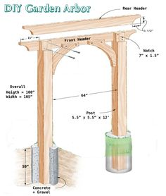 Family Handyman Inspired Garden Arbor – Built by Smart Girls DIY - Easy Diy Garden Projects Backyard Swings, Backyard Landscaping, Garden Swings, Backyard Ideas, Outdoor Projects, Garden Projects, Amusement Enfants, Arbor Swing, Arbor Gate