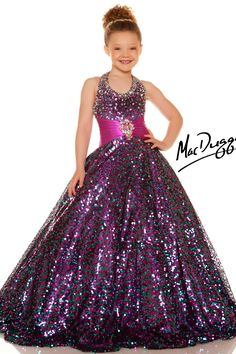 Girls Sequined Gold Pageant Dess - 42617S | Mac Duggal